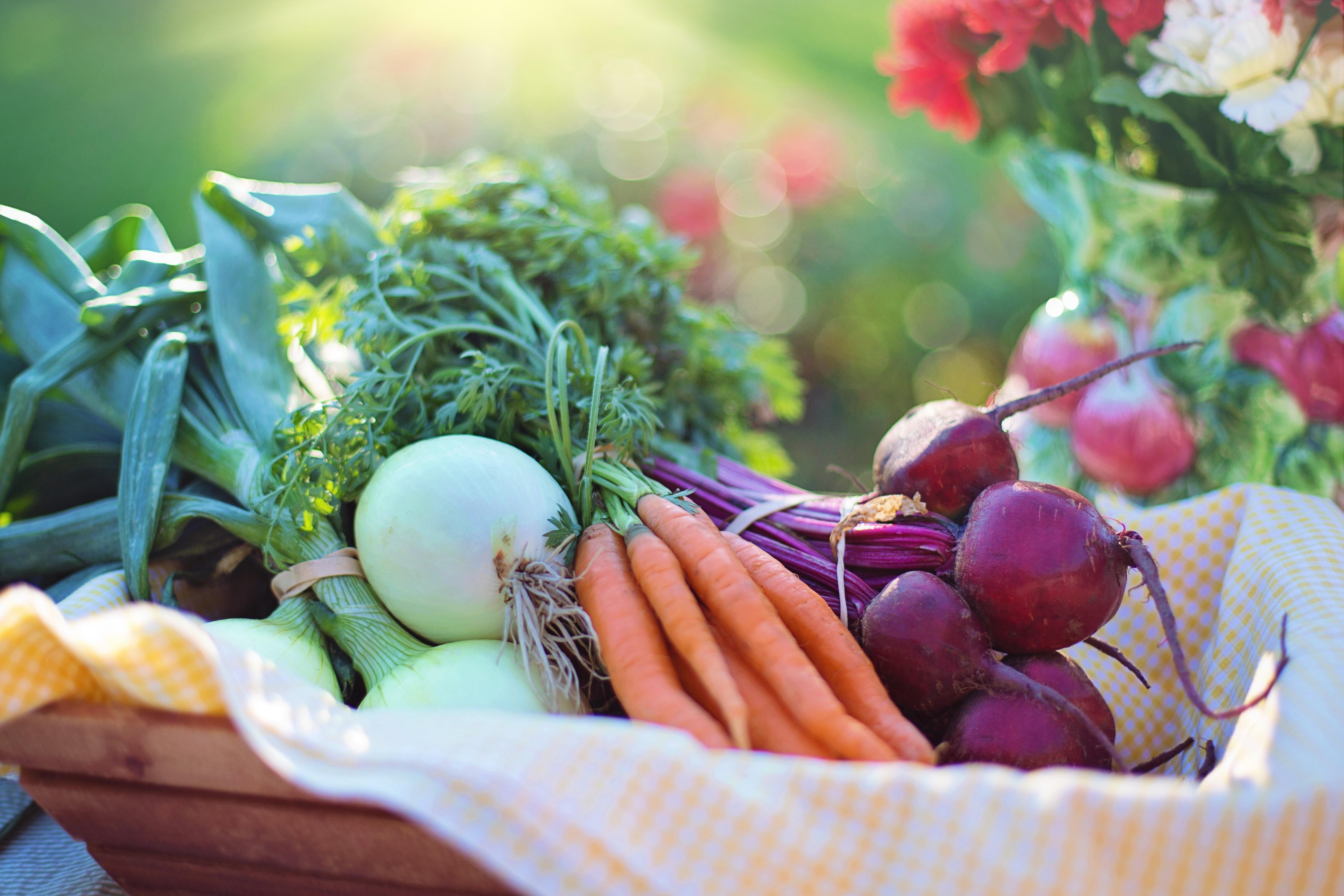 Basket full of colourful vegetables